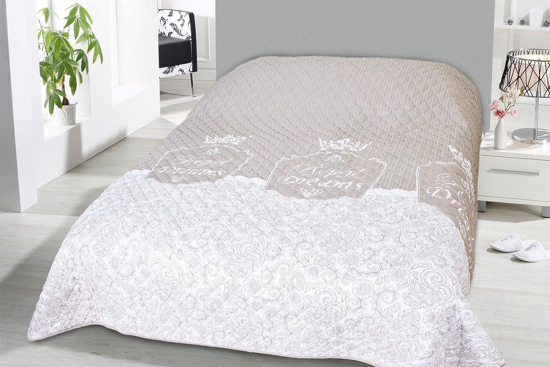 Fashion/&Joy XL Couvre-lit matelass/é 220 x 240 cm Couverture /Öko-Tex Cottage Shabby Chic Typ456 HxB 240x220 cm Polyester Avec vous.