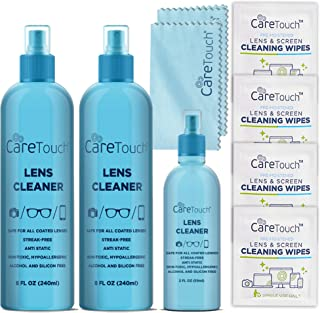 Best Care Touch Alcohol-Free Lens Cleaner Kit - (2) 8 oz Spray Bottles, (1) 2 oz Travel Spray Bottle, (6) Individually-wrapped Wipes, & (2) Microfiber Cloths | Safe for Coated Lenses, Eyeglasses, & Screens Review