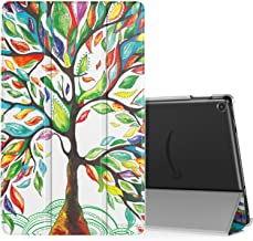 MoKo Case Fits All-New Fire HD 10 (7th Generation and 9th Generation, 2017 and 2019 Release), Smart Shell Stand Cover with Translucent Frosted Back for Fire HD 10.1 Inch, Lucky Tree