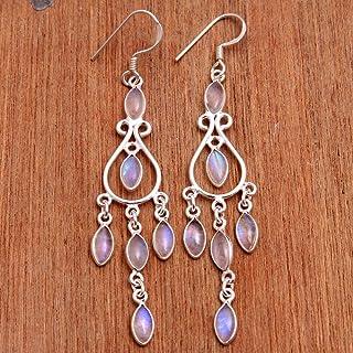 Orecchini pendenti in argento sterling con pietre di luna per donne e ragazze, orecchini con castone per orecchini, orecch...