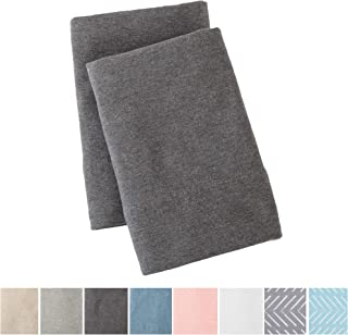 Great Bay Home Jersey Knit Pillowcase. All Season, Soft, Cozy Cases. T-Shirt Jersey Cotton King Pillow Case Set. Heather Cotton Jersey King Case Set. (King Pillowcases, Charcoal)