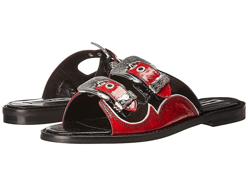 McQ Moon Buckle Slide (Nero/Rosso/White) Women
