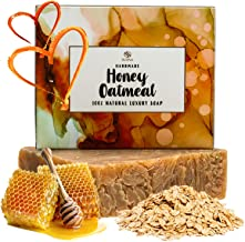 Oatmeal Honey Goat Milk Soap - Organic Exfoliating Skincare Bar for Face & Body. Also Dry Skin. 100% Natural Ingredients. Coconut & Olive Oil + Shea Butter. Unique Gift Idea for Woman, Men and Teens