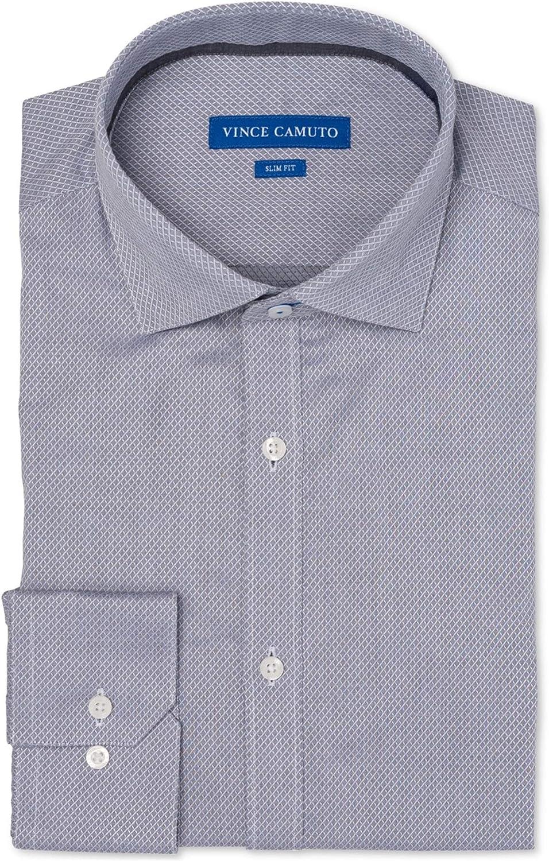 Vince Camuto Mens Mini Diamond Button Up Dress Shirt mediumgreydobby 17.5