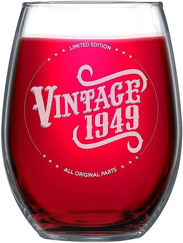 NeeNoNex Vintage 1949 All Original Parts Stemless Wine Glass 70th Birthday Gift