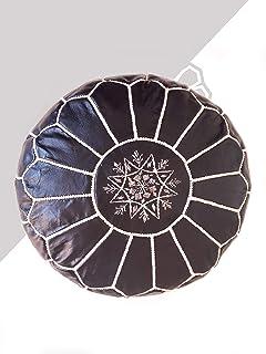 Kechart - Puf Marroquí Negra cognac de cuero auténtico - Hecho a mano - Entregado con relleno - Otomano, cojin de suelo -