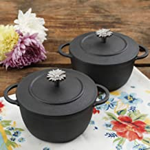 The Pioneer Woman Timeless Beauty Mini Preseason Plus Cast Iron Dutch Ovens, Set of 2 (L x W x H) 8.54 x 6.97 x 8.66 Inches