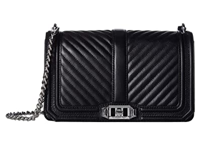 Rebecca Minkoff Chevron Quilted Love Crossbody (Black 2) Cross Body Handbags