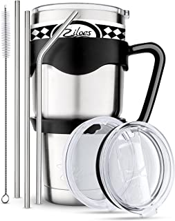 Travel Mug 30 Oz. Stainless Steel Tumbler -Removable Handle | Sliding & Regular Lid, 3 Straws & Cleaning Brush | Double Wall Vacuum Insulated Rambler Suitable For Coffee Hot & Cold Drinks By Ziloes