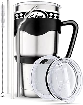 Travel Mug 30 Oz. Stainless Steel Tumbler -Removable Handle