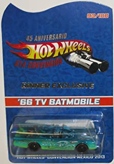 1966 TV Series BATMOBILE Hot Wheels 2014 Mexico Convention Very Rare Code-3 Limited Edition 1:64 Scale Collectible Die Cast Car Model Rides on Redline Real Riders Rubber Tires - Only 100 Made Worldwide!!!