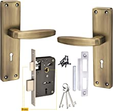 Chitra Steel IMH1010KY Motice Door Handle Lock Set with Double Stage Lock and 3 Keys (8 Inch, Antique Brass)