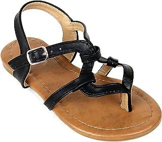 8564e273d9a8e ANNA Girls Kids T Strap Thong Gladiator Strappy Flat Flip Flops Sandals