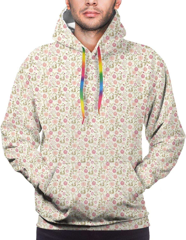 TENJONE Men's Hoodies Sweatshirts,Flower Close Up with Sacred Geometry Stamen and Pink Color Palette Petals