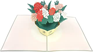 PopLife White and Pink Flower Bouquet 3D Pop Up Mother's Day Card - Anniversary Pop Up Birthday Card, Engagement, Wedding - Gift for Her - Fold Flat for Mailing - for Mom, for Daughter, for Wife