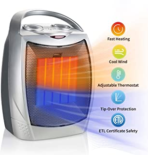 Brightown Portable Ceramic Heater 1500W/750W, ETL Certified Energy Efficient Small..