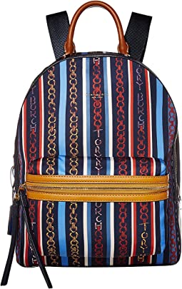 토리버치 페리 백팩 Gemini 줄무늬 Tory Burch Perry Nylon Printed Zip Backpack,Gemini Multi Stripe