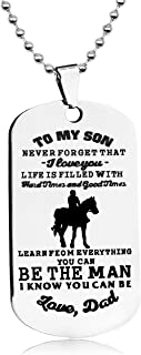 LITTONE Love Gift to My Son Dog Tags from Dad Boy Necklaces Military Chains Pendants LNH9369#