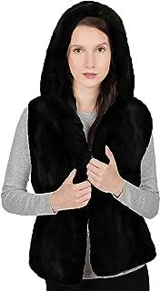OBURLA Women's Genuine Rex Rabbit Hooded Fur Vest - Warm Real Fur Sleeveless Jacket with Hood