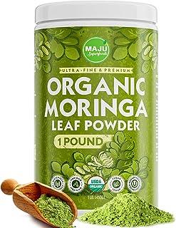 MAJU's Organic Moringa Powder (1 Pound), Oleifera Leaf, Extra-Fine Quality, Dried Drumstick Tree Leaves, Tea, Smoothies, Food-Grade
