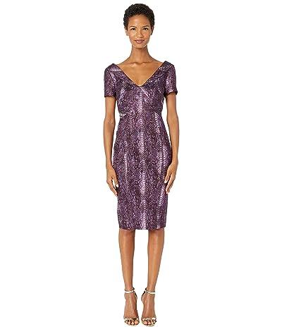 Zac Posen Metallic Party Jacquard Short Sleeve V-Neck Fitted Cocktail Dress (Python Magenta) Women