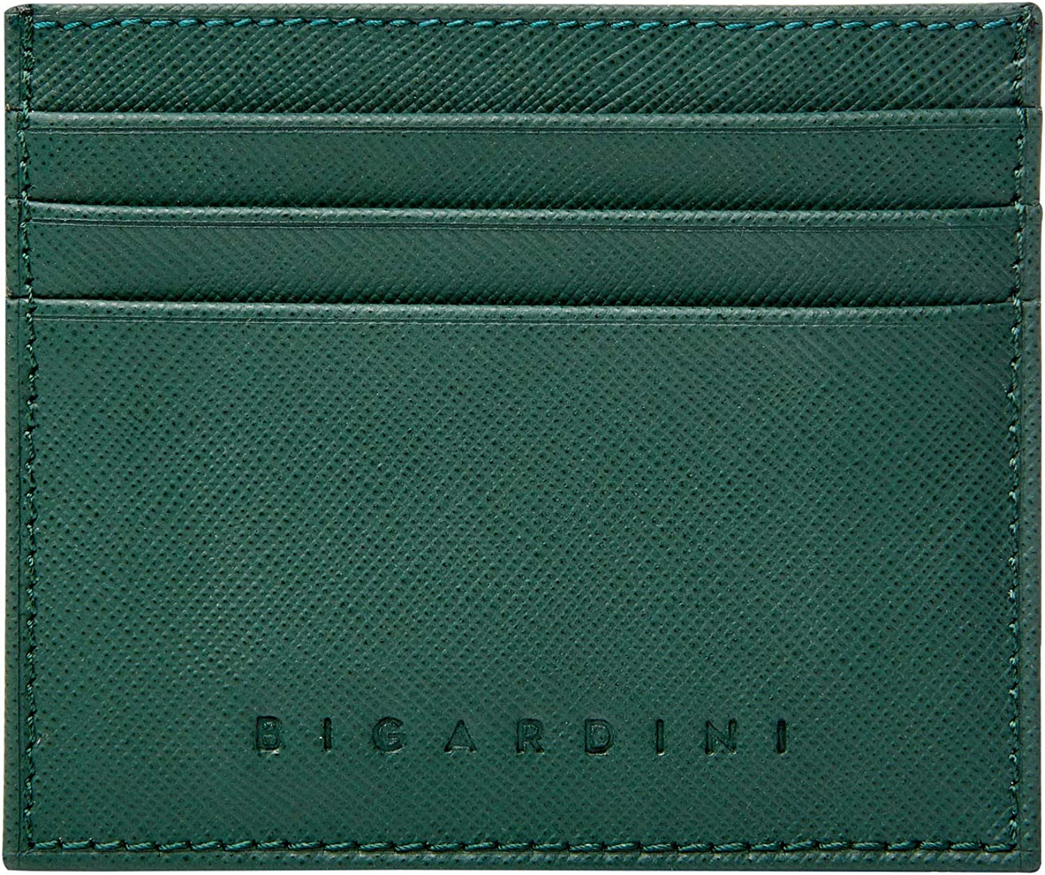 Slim Wallet Saffiano Genuine Leather Credit Card Holder Minimalist RFID Credit Card Case for Men and Women by Bigardini