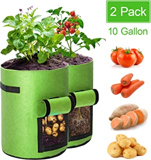 BAGOKIE 2 Pack Potato Grow Bags 10 Gallon with Flap, Vegetable Planting Bags, Thickened Breathable Non-Woven Fabric Pots, Tomato Planter Bags, Garden Container Pot for Strawberry Plant Grow Bags