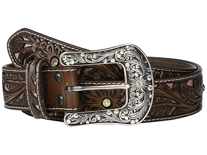 Ariat Pierced Rose Pink Underlay Belt (Brown/Pink) Women