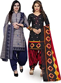 Rajnandini Women's Grey And Black Cotton Printed Unstitched Salwar Suit Material (Combo Of 2) (Free Size)