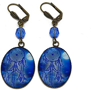 Orecchini Catch sogno luna blu ottone perla resina regali personalizzati regalo di Natale compleanno cerimonia di nozze os...
