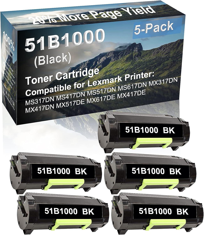 5-Pack Compatible High Capacity MX517DE MX617DE MX417DE Printer Toner Cartridge Replacement for Lexmark 51B1000 Printer Cartridge (Black)
