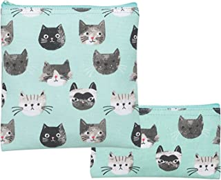 Now Designs Aqua Cats Meow Set of 2 Resuable Lined Cotton Multipurpose Zippered Snack Bags