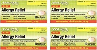Assured Allergy Medicine in Tablet, Caplet and Softgel Forms, Phenylephrine HCl, Acetaminophen, Diphenhydramine HCl 25 mg, Cetrizine HCl 10 mg, 4-Box Sets (Softgels)
