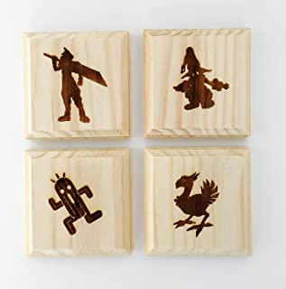 Final Fantasy Inspired Coasters (by Brindle Designs): Permanent Engraved Gift Set of 4 Wood Coasters. Cloud, Vivi, Cactuar and Chocobo.