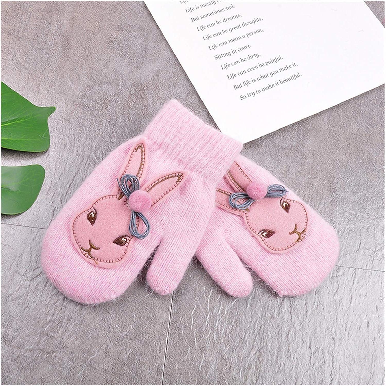 GUYANMAY Gloves Cartoon Rabbit Gloves Winter Children Thicken Warm Gloves Kids Girls Cute Full Fingers Rabbit Hair Wool Mittens Warm (Color : Pink)