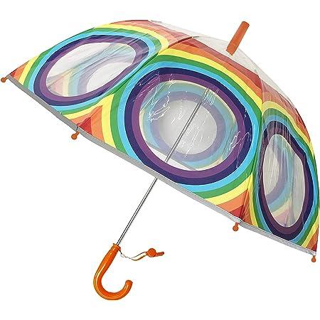 SMATI Parapluie Enfant Transparent Cloche - Bordure Fluorescente - Anti-Vent - 8 Baleines Fibres (Arc en Ciel)