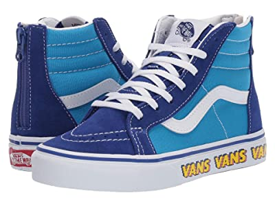 Vans Kids Sk8-Hi Zip (Little Kid/Big Kid) ((V Arcade) Dresden Blue/True White) Boys Shoes