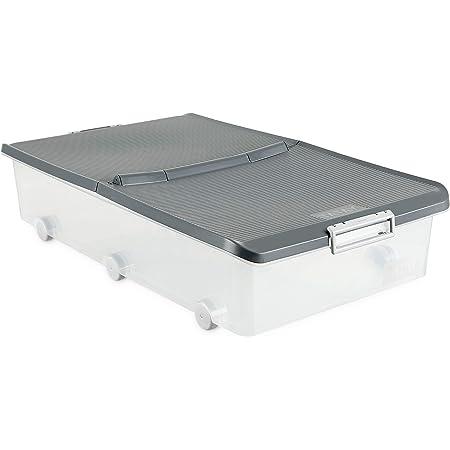 TATAY 1151122 Boîte Multi-Usage Basse à Roulettes 63 L Plastique, Gris, 45 x 77 x 18 cm