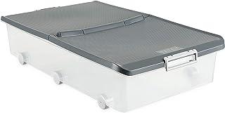 Tatay Caja de Almacenamiento Multiusos bajo Cama Ruedas 63 l de Capacidad plástico Polipropileno Libre de bpa Transparente con Tapa, Gris, 45 x 77 x 18 cm