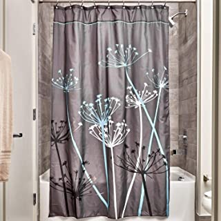 "iDesign InterDesign Thistle Wide Fabric Shower Curtain for Master, Guest, Kids', College Dorm Bathroom, 72"" x 84"", Gray an..."