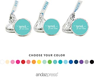 Andaz Press Fully Personalized Collection, Chocolate Drop Label Stickers Fits Hershey's Kisses, Custom Made Any Name, Your Text Here, 216-Pack, For Weddings, Christmas, Holidays