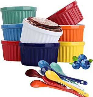Souffle Dish Ramekins for Baking – 6 Ounce (Set of 8, Assorted Colors with 8 Extra Spoons) 6 Oz, 3.5-inch Ceramic Oven Saf...