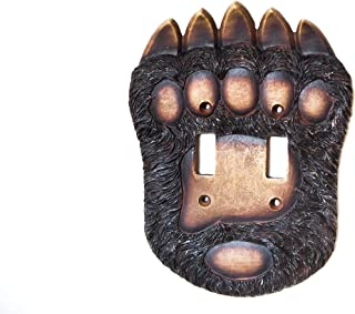Wooden Black Bear Paw Double Light Switch Cover. Decorate your Cabin's double electrical wall plates.