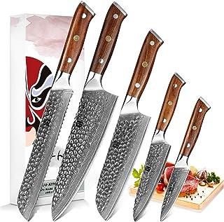 XINZUO Acier Damas 5 Pièces Set Couteaux de Cuisine ProfessionnelAcier à Haute Teneur en Carbone CouteaudeChef Santoku ...