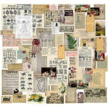 Craft Supplies Vintage Journal Ephemera Pack by CATaireen Scrapbook Accessories Card Making Collage Kit Stickers for Scrapbox Idea Antique Designer Mixed Media Supplies Paper 58pcs