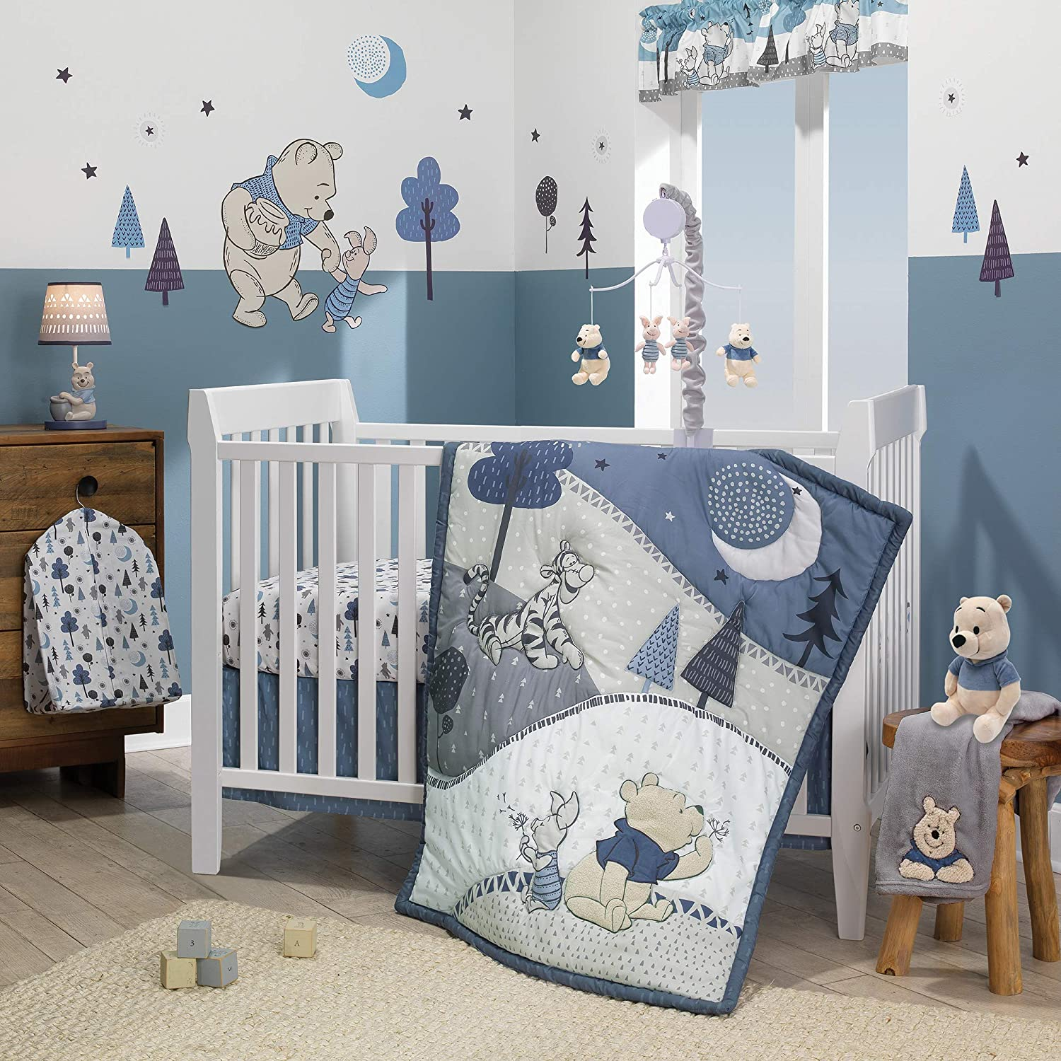 Lambs Ivy Forever Pooh 3Piece Bedding High order Sale Special Price Baby Crib Set Blue