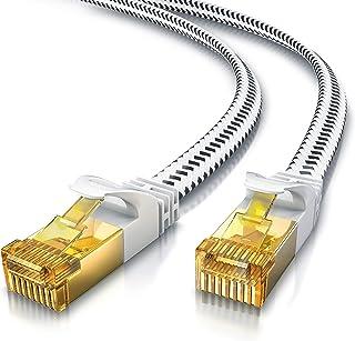 CSL   5m CAT 7 Netzwerkkabel Flach 10 Gbits   Baumwollmantel   LAN Kabel Patchkabel Datenkabel   CAT.7 Gigabit RJ45 Ethernet Cable   10000 Mbits Geschwindigkeit   Flachbandkabel   Verlegekabel