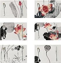 LOLOAJOY Set of 6 Cotton Linen Placemats Ink Lotus Flower Placemat Table Mats Heat Resistant Place Mat for Dining Table Restaurant Home Kitchen Decor