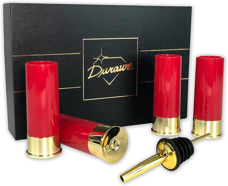 Durawe Company Many popular brands 12 Gauge Shot Glass of Shots with 4 Kansas City Mall Set Pourer