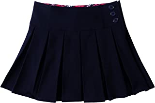 Bienzoe Girl's Pleated Hem School Uniform Skirt